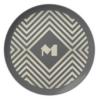 Charcoal and Beige Diamond Monogram Dinner Plate