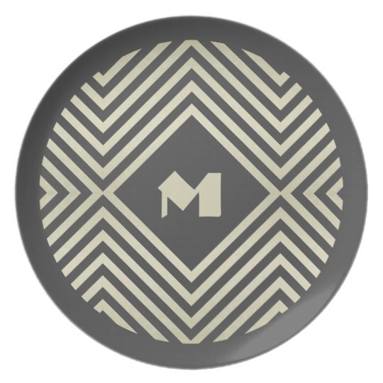 Charcoal and Beige Diamond Monogram Dinner Plate