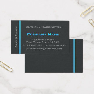 Charcoal and Blue Stripe Professional Business Card