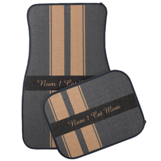 Charcoal and canvas racing stripes floor mat