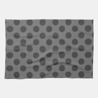 Charcoal and Dark Gray Polka Dots Kitchen Towel