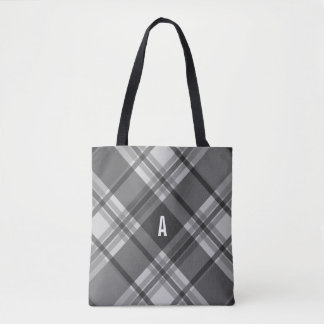Charcoal and Gray Plaid Monogram Tote Bag