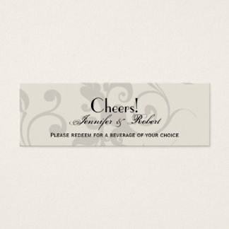Charcoal and Ivory Filigree Wedding Drink Ticket