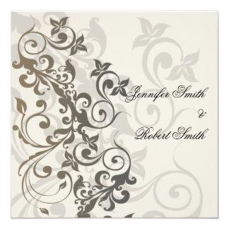 Charcoal and Ivory Filigree Wedding Invitation
