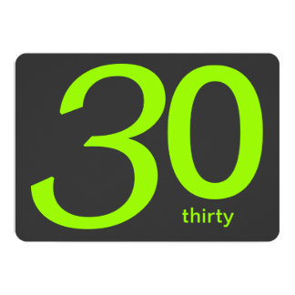 Charcoal and Lime Custom 30th Birthday Invitation