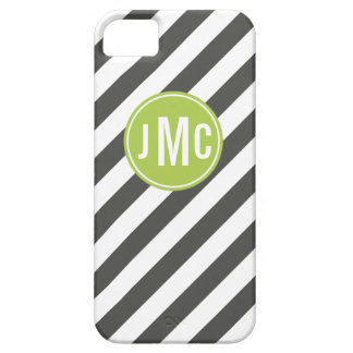 Charcoal and Lime Stripes with Custom Monogram iPhone 5 Cover