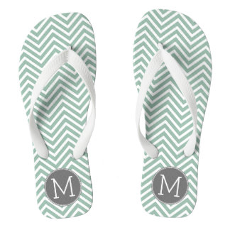 Charcoal and Mint Green Chevrons Custom Monogram Flip Flops