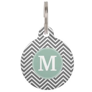 Charcoal and Mint Green Chevrons Custom Monogram Pet ID Tag