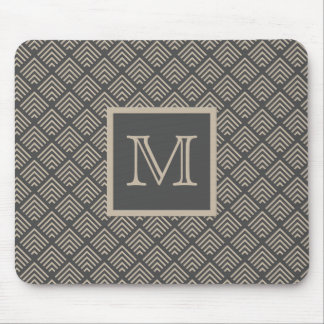 Charcoal and Natural Geometric Pattern Monogrammed Mouse Pad