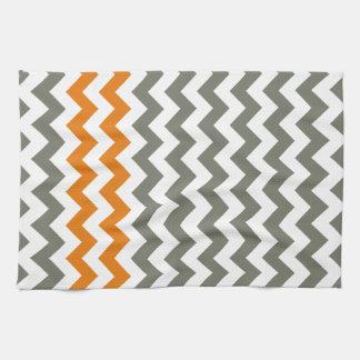 Charcoal and Orange Chevron Stripes Kitchen Towel