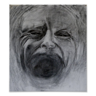 Charcoal and pencil drawing on paper poster