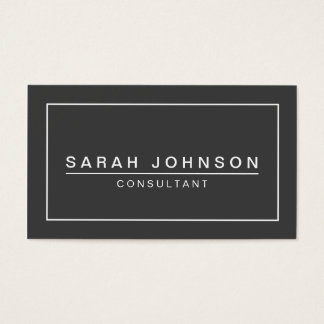 CHARCOAL AND WHITE PLAIN MODERN BUSINESS CARD