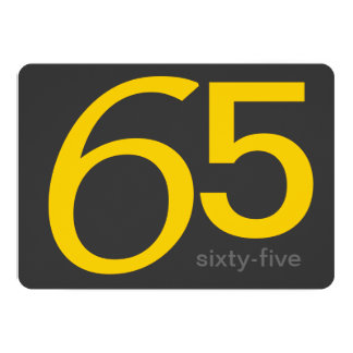Charcoal and Yellow Custom 65th Birthday Invite