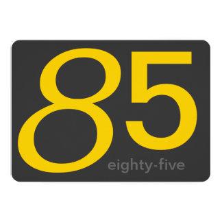 Charcoal and Yellow Custom 85th Birthday Invite