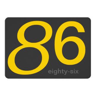 Charcoal and Yellow Custom 86th Birthday Invite