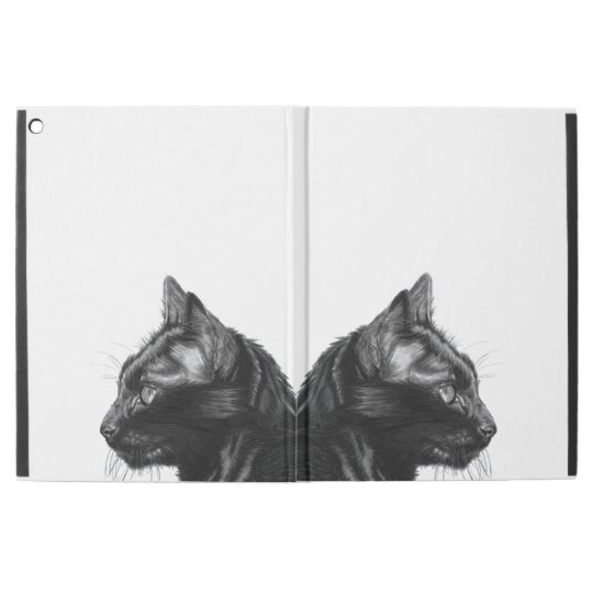 Charcoal black cat drawing ipad case