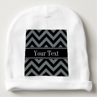 Charcoal, Black LG Chevron Black Name Monogram Baby Beanie