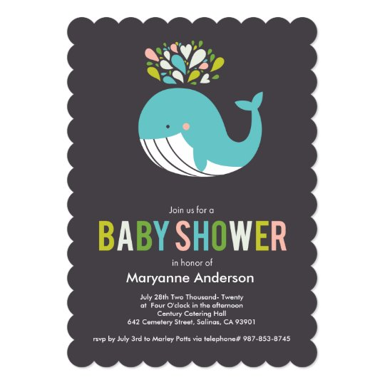 Charcoal Bursting Whale Baby Shower Invitation