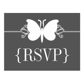 Charcoal Butterfly Swirls RSVP Postcard