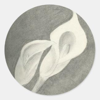 Charcoal Calla Lilies Round Sticker