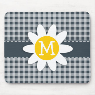 Charcoal Color Gingham; Daisy Mouse Pad