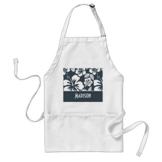 Charcoal Color Tropical Hibiscus; Personalized Standard Apron