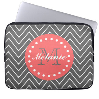 Charcoal Coral Chevron Pattern 2A Monogram Laptop Sleeve
