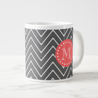 Charcoal Coral Chevron Pattern 2A Monogram Large Coffee Mug