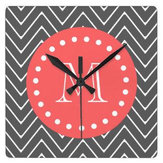 Charcoal Coral Chevron Pattern 2A Monogram Square Wall Clock