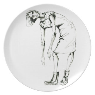 charcoal girl 3 plate