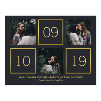 Charcoal & Gold | Photo Collage Save the Date Postcard