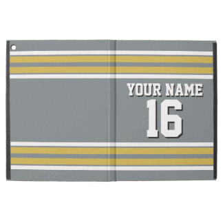 Charcoal Gold White Team Jersey Custom Number Name