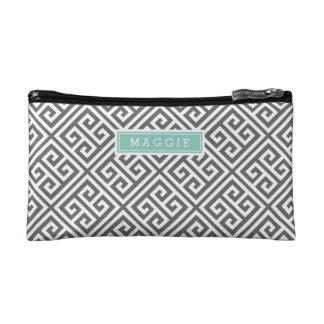 Charcoal Gray and Aqua Greek Key Monogram Cosmetics Bags