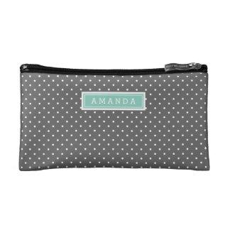 Charcoal Gray and Aqua Tiny Dots Monogram Cosmetic Bags