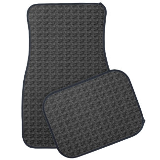 Charcoal Gray and Black Woven Print Car Mats Car Mat
