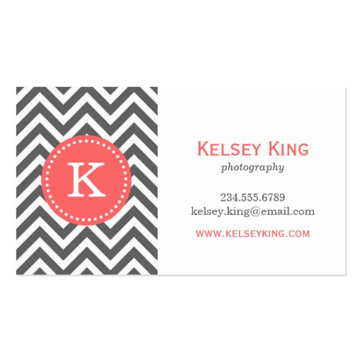 Charcoal Gray and Coral Chevron Custom Monogram Business Card Template