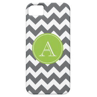 Charcoal Gray and Green Chevron Custom Monogram Case For The iPhone 5