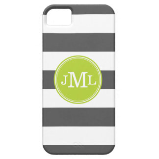 Charcoal Gray and Green Wide Stripe Monogram iPhone 5 Case