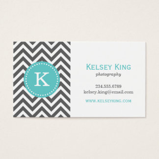 Charcoal Gray and Turquoise Chevron Monogram Business Card