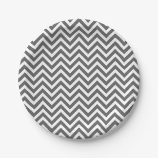 Charcoal Gray and White Chevron 7 Inch Paper Plate