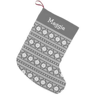 Charcoal Gray and White Fair Isle Monogram Small Christmas Stocking