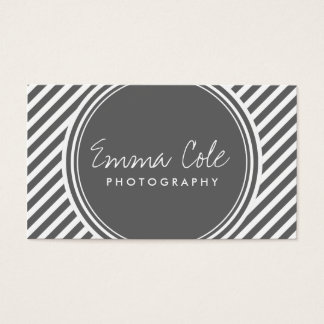 Charcoal Gray and White Preppy Stripes Business Card