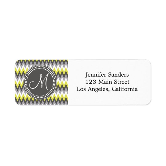 CHARCOAL GRAY AND YELLOW CHEVRON