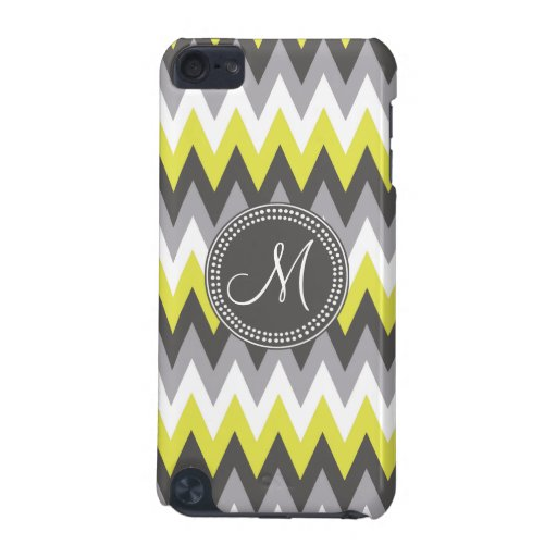 CHARCOAL GRAY AND YELLOW CHEVRON iPod TOUCH (5TH GENERATION) COVER