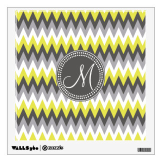 CHARCOAL GRAY AND YELLOW CHEVRON WALL STICKER