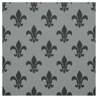 Charcoal Gray, Black Fleur De Lis Pattern Sz6 Fabric