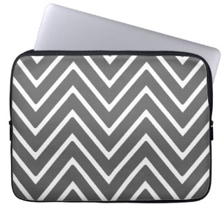 Charcoal Gray Chevron Pattern 2 Laptop Sleeve