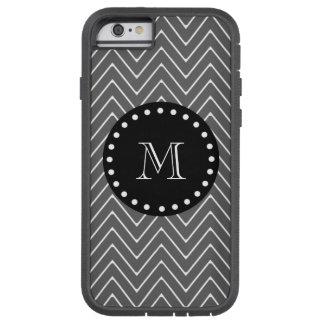 Charcoal Gray Chevron Pattern | Black Monogram Tough Xtreme iPhone 6 Case