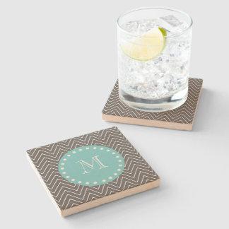 Charcoal Gray Chevron Pattern   Teal Monogram Stone Coaster