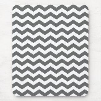 Charcoal Gray Chevron Stripes Mouse Pad